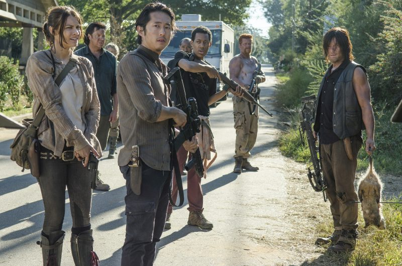 Lauren Cohan as Maggie Greene, Josh McDermitt as Dr. Eugene Porter, Steven Yeun as Glenn Rhee, Tyler James Williams as Noah, Michael Cudlitz as Abraham and Norman Reedus as Daryl Dixon - The Walking Dead _ Season 5, Episode 12 - Photo Credit: Gene Page/AMC