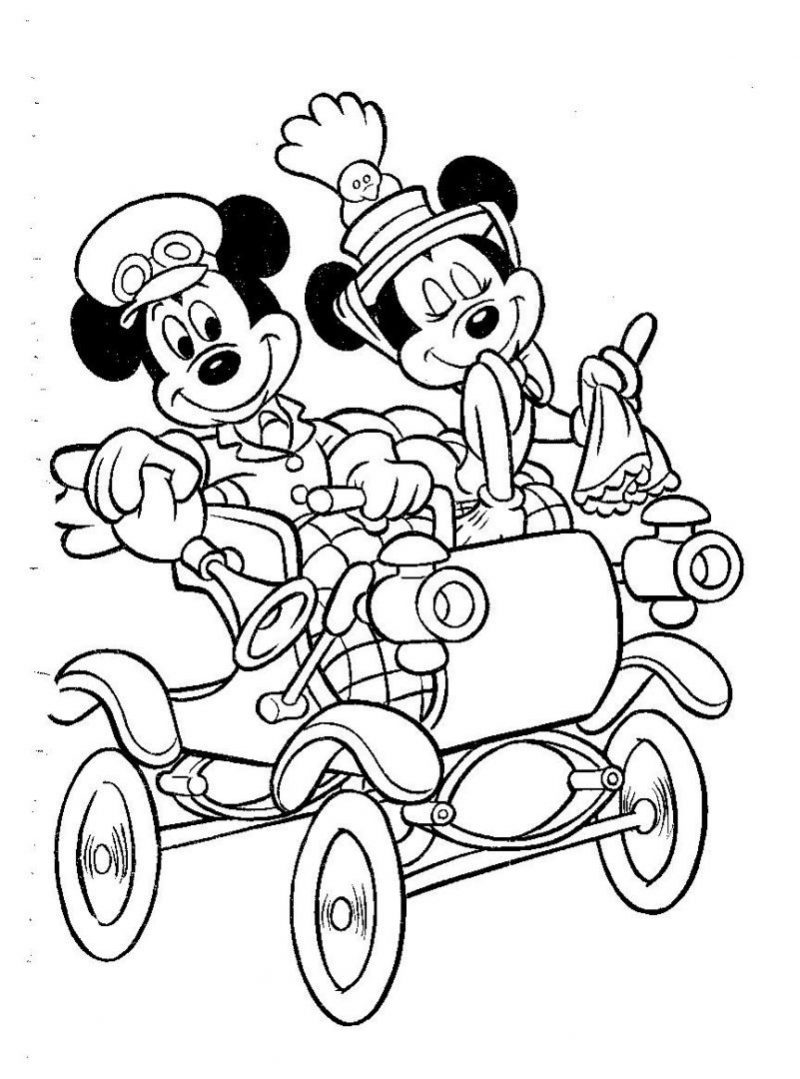 mickey-y-minnie-en-coche-disney-para-colorear