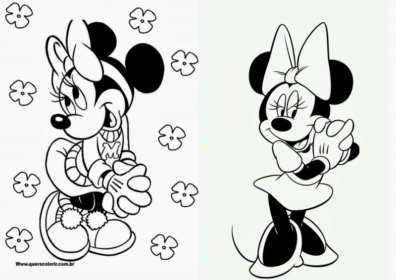 Dibujos Mickey y Minnie Mouse de Disney para colorear gratis