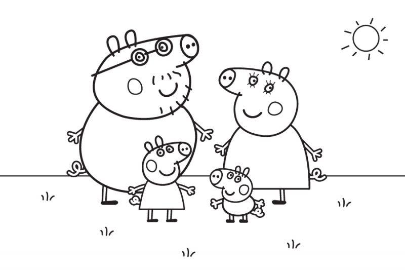 07-dibujo-de-peppa-pig-y-su-familia-para-colorear