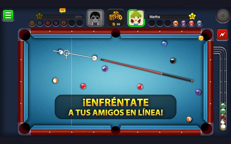 8 Ball Pool enfrentante a tus amigos en linea