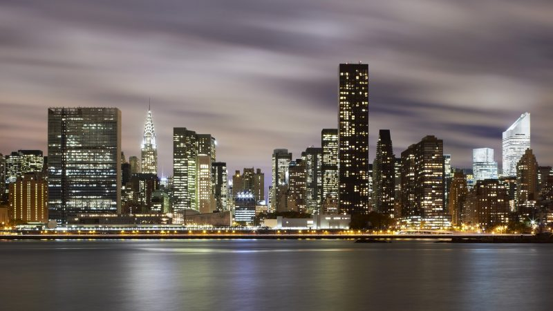 09 Nov 2010 --- Midtown Manhattan along the East River at night --- Image by © Raimund Koch/Corbis