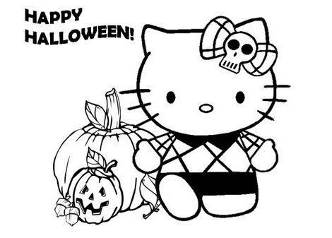 dibujo-hello-kitty-colorear-halloween
