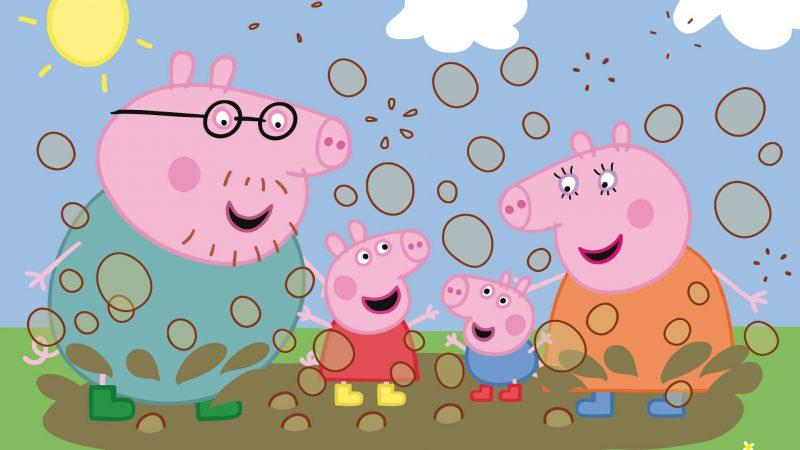 familia-peppa-pig-en-el-barro-saltando-fondos-hd