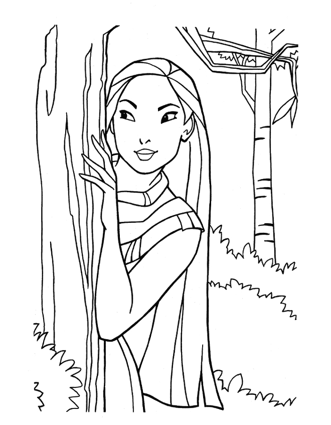 pocahontas-princesa-disney-en-dibujos-para-colorear