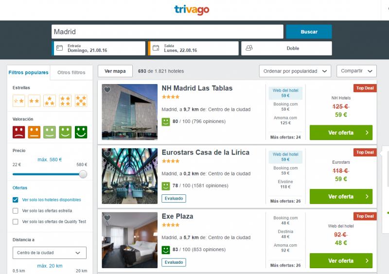 web de trivago.es