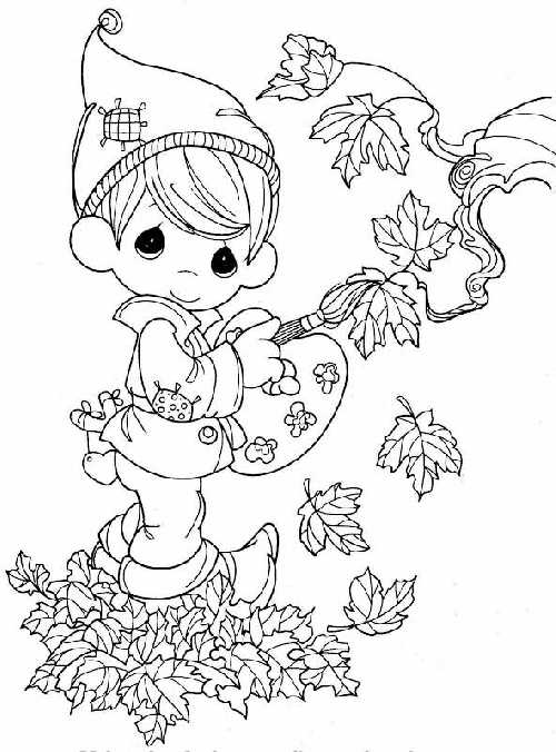 dibujo-nino-pintando-hojas-otono