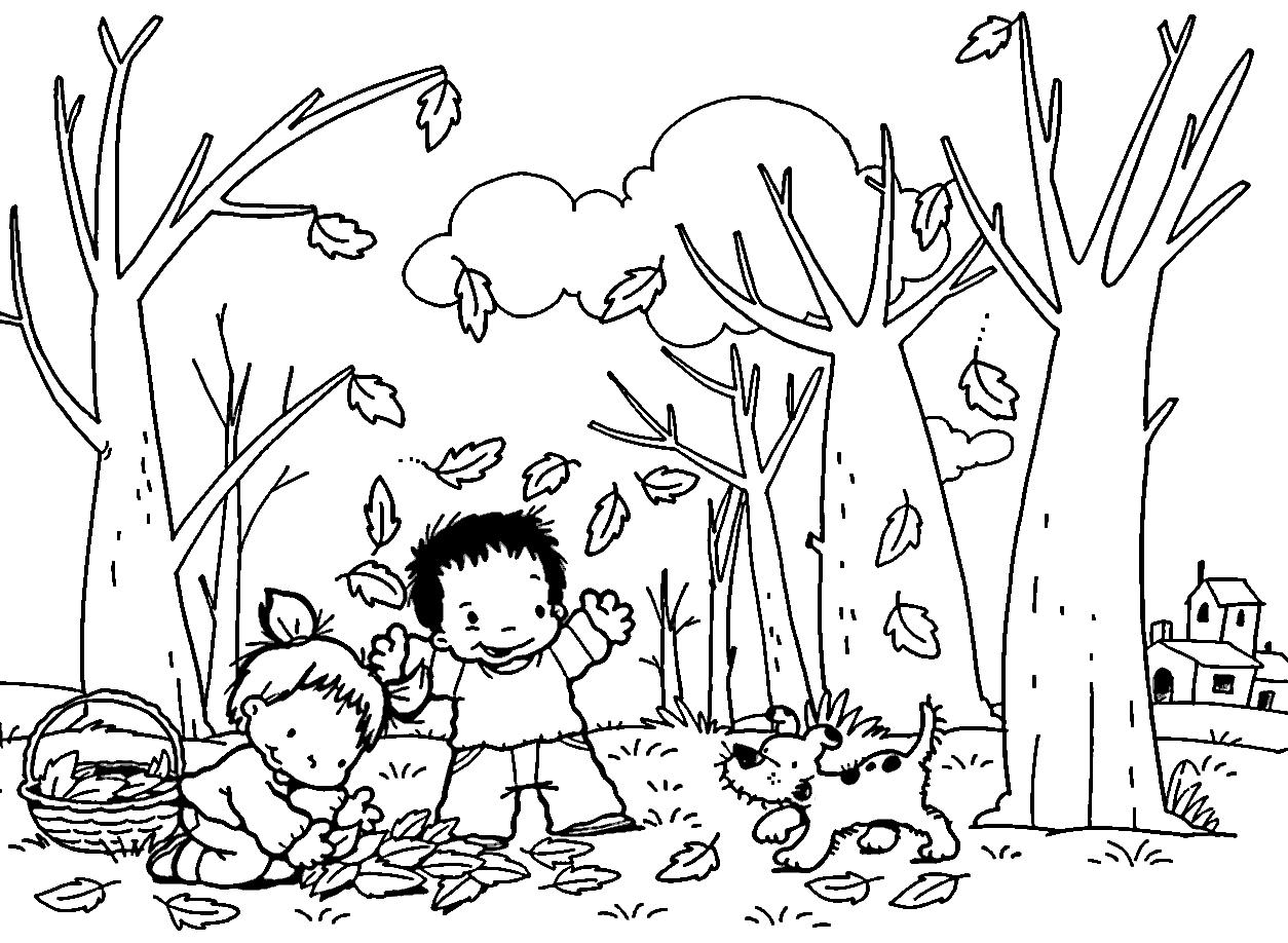 Dibujo De La Palabra Otoño Para Colorear Con Los Niños: Dibujos De Otoño Para Colorear E Imprimir Gratis