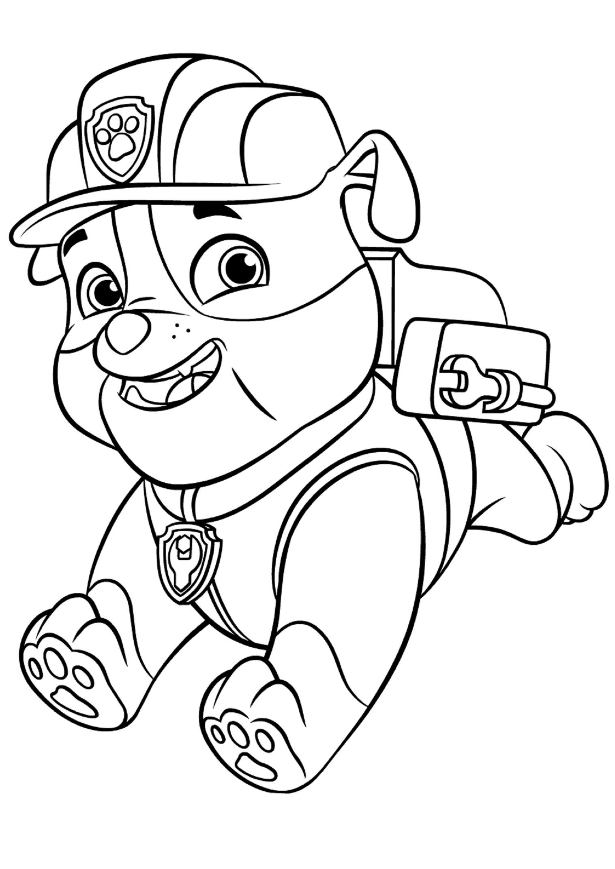 Paw Patrol Rocky Marshall Skye Ryder Sketch Coloring Page