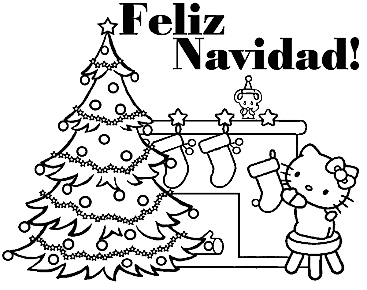 Hello Miss Kitty Coloring Pages : Dibujos de feliz navidad para colorear e imprimir