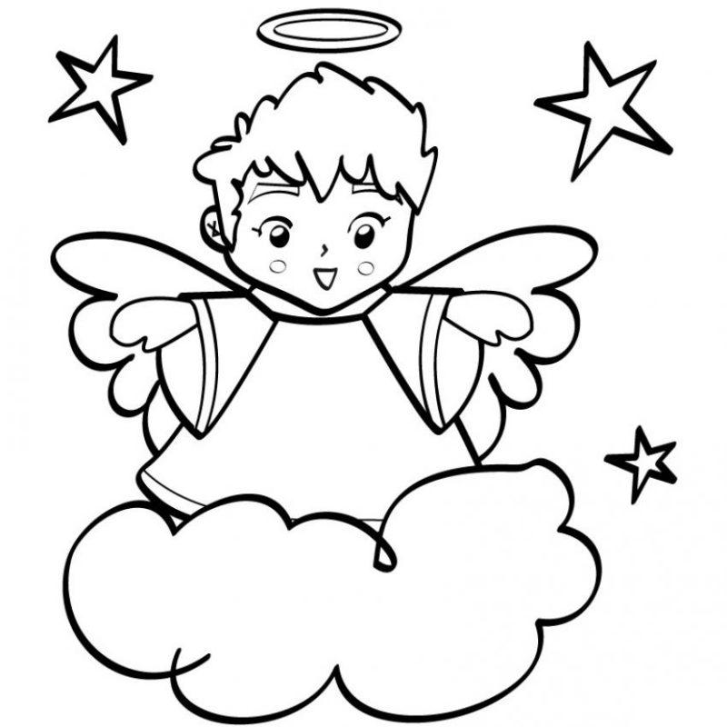 christmas boy angel coloring pages - photo#17