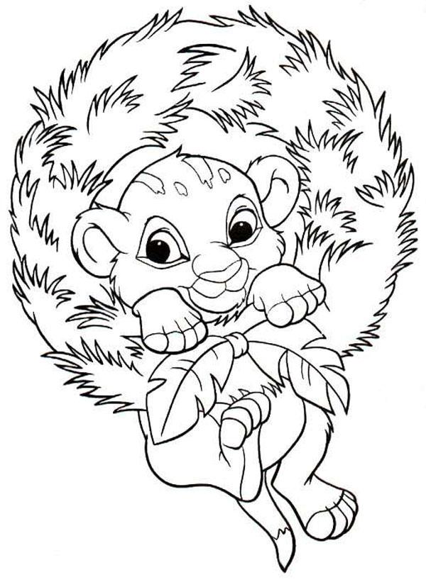 dibujos-colorear-el-rey-leon-bebe-navidad-disney