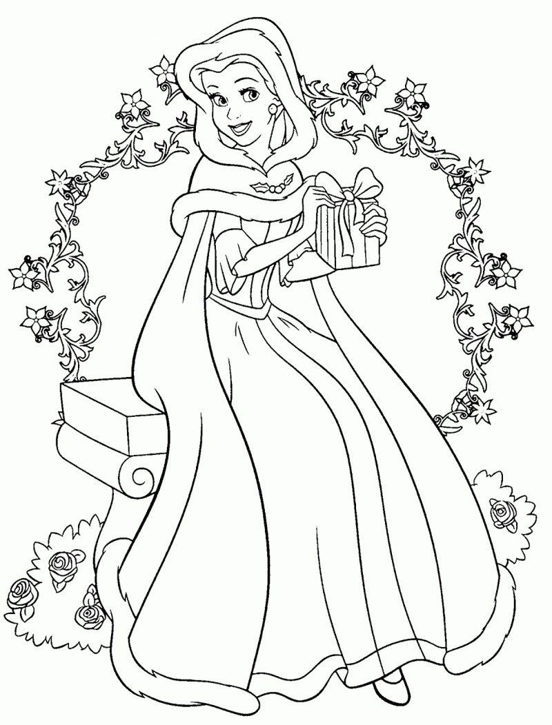dibujos-colorear-la-bella-y-la-bestia-navidad