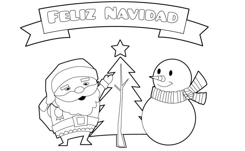 dibujos feliz navidad para colorear