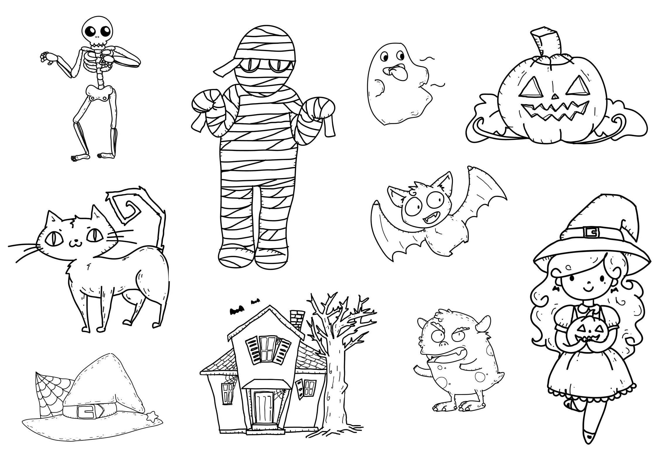 Dibujos Varios Para Colorear: Dibujos Halloween Para Colorear, Imprimir Y Recortar