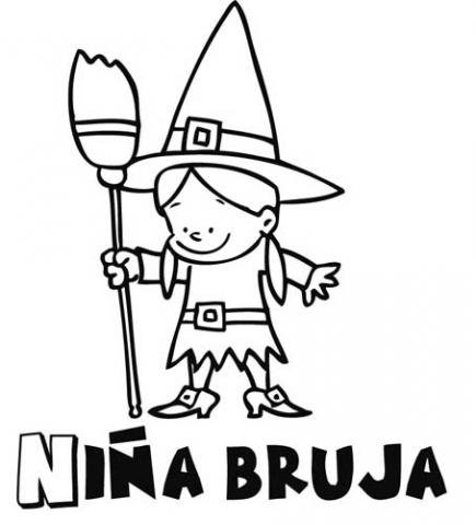 Dibujos halloween para colorear imprimir y recortar - Como pintar a una nina de bruja para halloween ...
