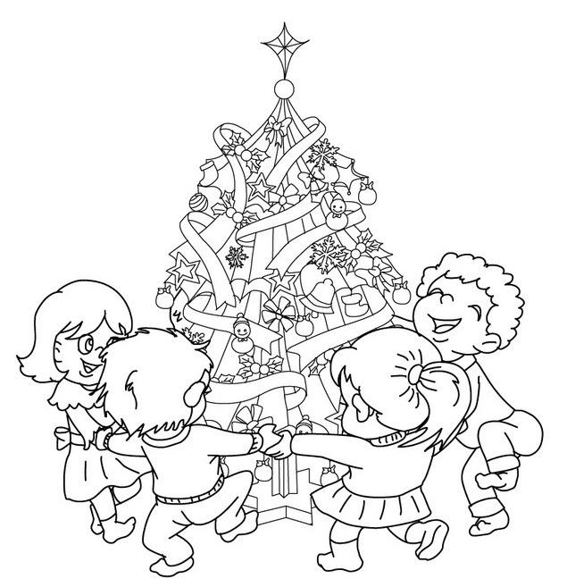 niños-y-arbol-de-navidad-para-colorear