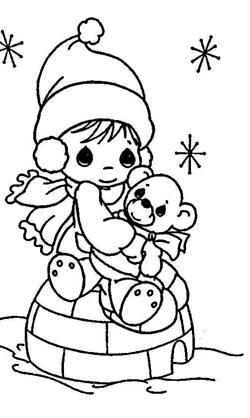 nina-en-navidad-para-colorear