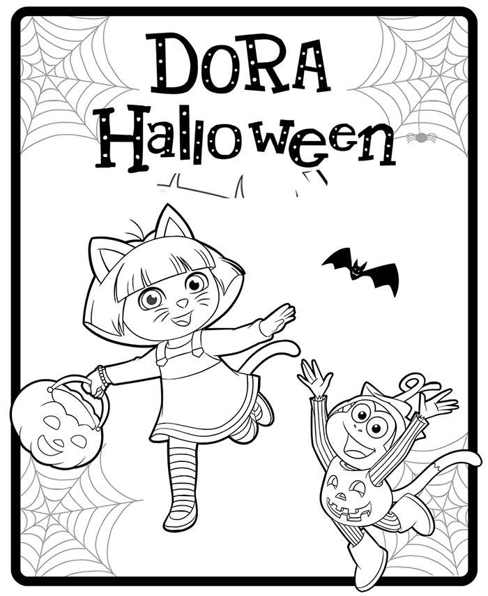 dibujos-dora-la-exploradora-halloween-para-colorear