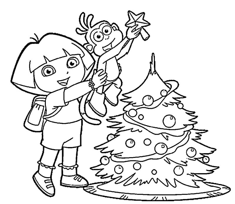 dibujos-dora-la-exploradora-para-colorear-navidad