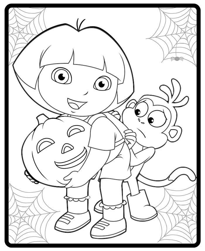 Dibujos de dora la exploradora para colorear e imprimir for Dora halloween coloring pages