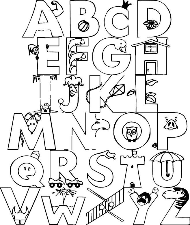 Lujoso Letras Para Colorear En Forma Gratuita Motivo - Páginas Para ...