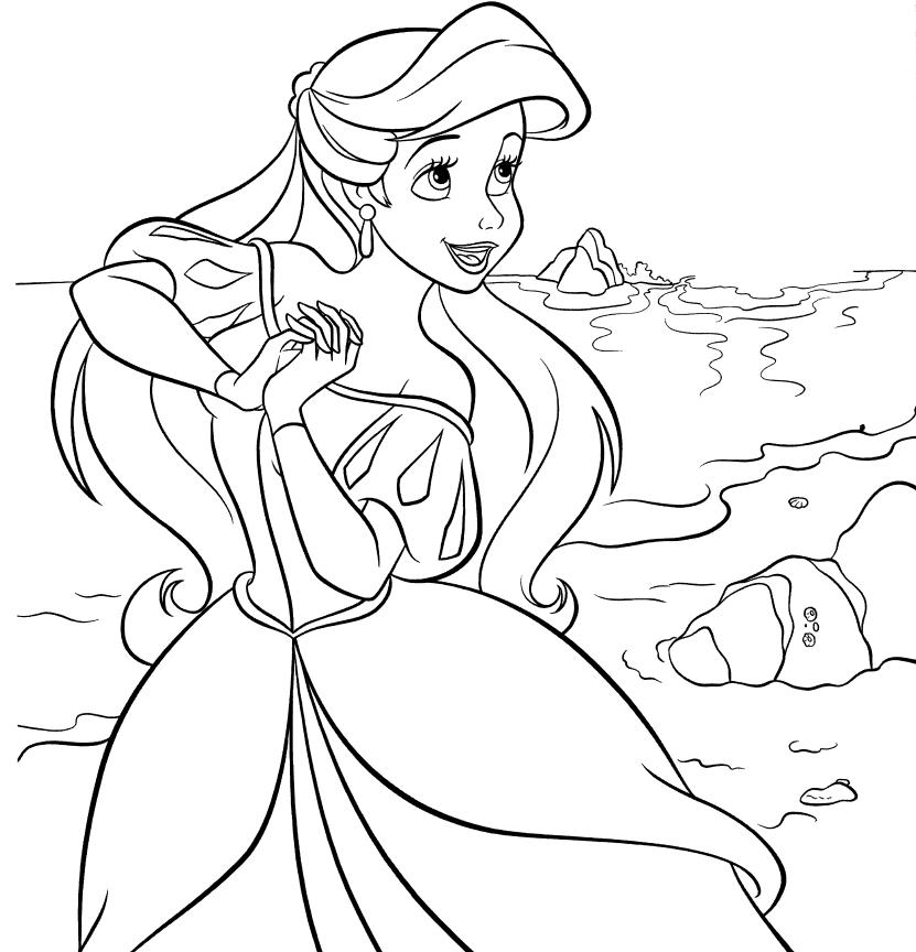 Dibujos de la Sirenita para colorear pintar e imprimir gratis