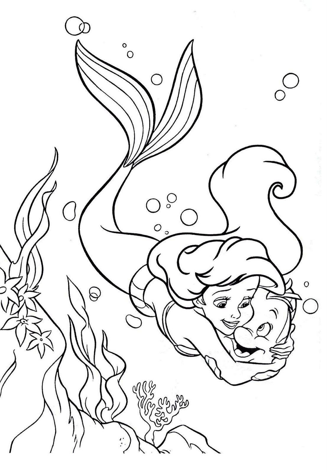 Dibujos de la Sirenita para colorear, pintar e imprimir gratis