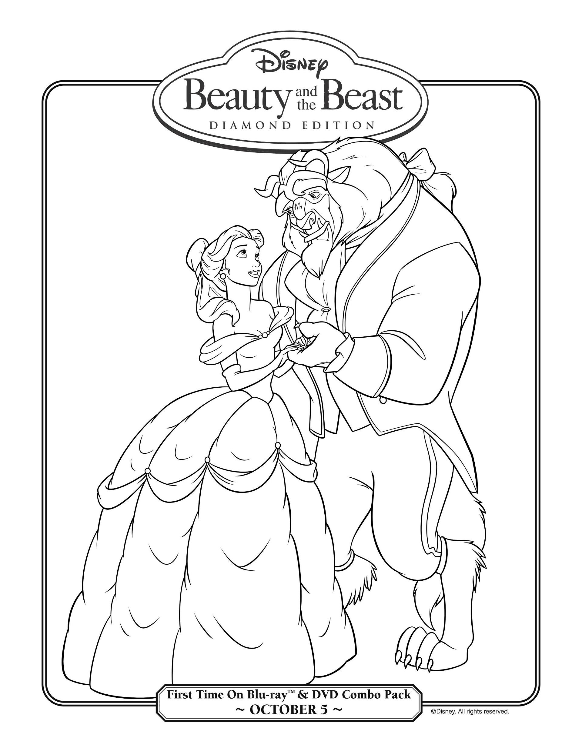19 Dibujos de La Bella y la Bestia para colorear pintar e