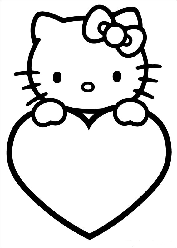 Dibujo de Hello Kitty con corazon de amor