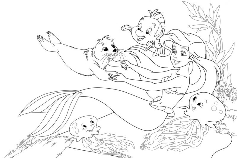 Ariel La Sirenita Para Colorear Para Dibujos De La: Dibujos De Sirenas Para Colorear, Pintar E Imprimir