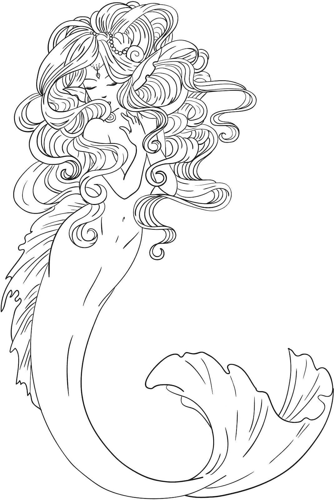 Dibujos de Sirenas para Colorear, Pintar e Imprimir