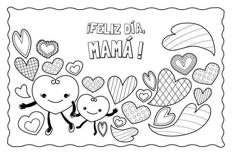 Dibujos del Día de la Madre para Colorear, Pintar e Imprimir