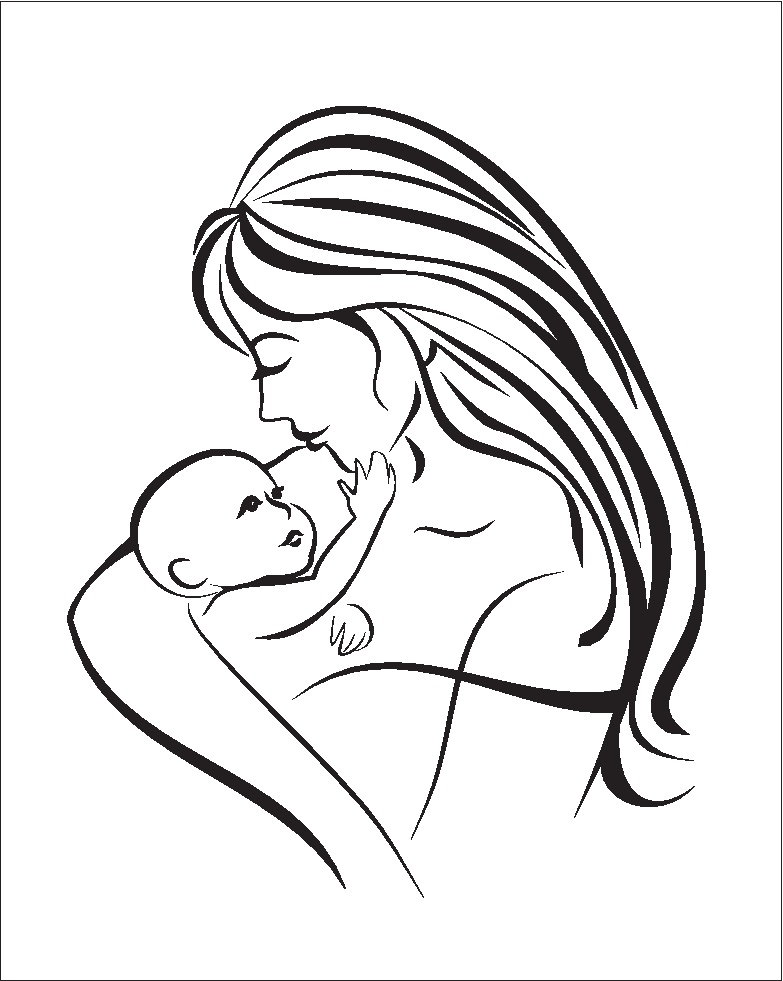 Dibujos del d a de la madre para colorear pintar e imprimir for Mom and baby coloring pages