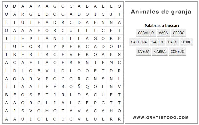 Sopa de Letras de Animales de Granja para Imprimir
