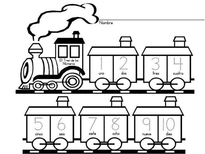 Dibujo de Tren con números para imprimir y colorear