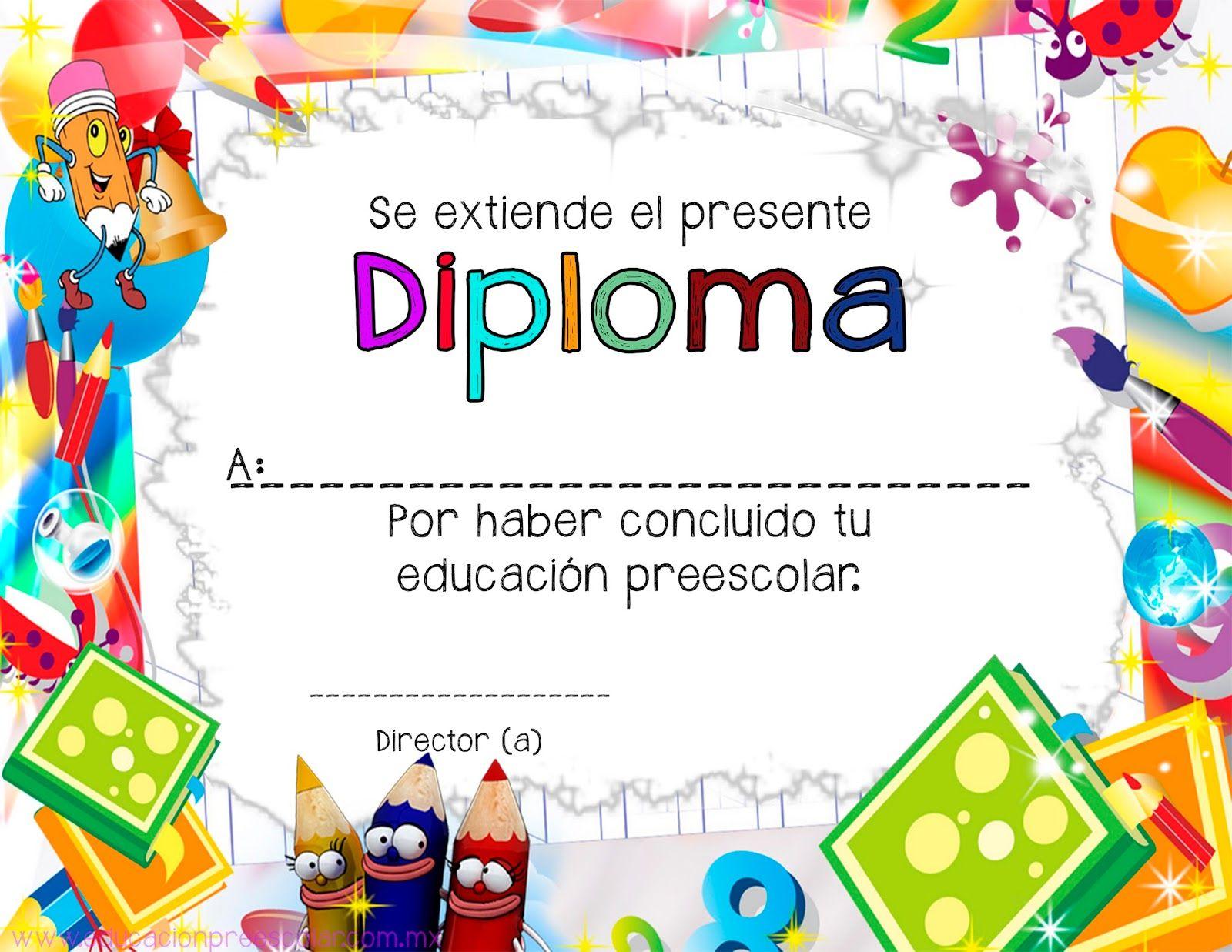 Dibujos Infantiles Escolares Para Colorear: Diplomas Infantiles Escolares Para Niños Para Imprimir Gratis