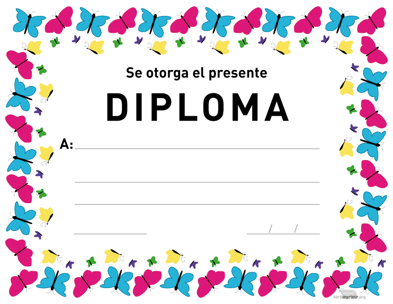 Diplomas infantiles escolares para niños para Imprimir Gratis
