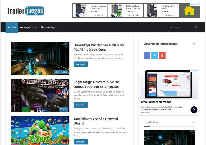 Captura de la web de Trailer Juegos